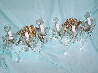 Pair Vintage 3 Arm Sconces Crystals Gilt Bronze Finish Wall Lights Fixtures Two