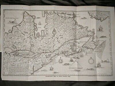 Champlain's Map of New France 1632  Also Showing Northeast US Lithograph 1850