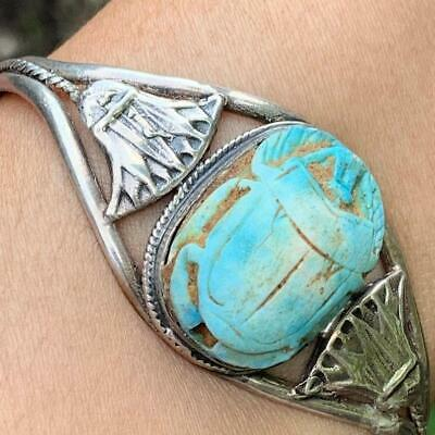 Vintage Art Deco Egyptian Revival Sterling Silver Carved Scarab cuff bracelet
