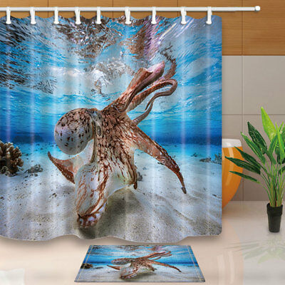 Diver and Purple Octopus Shower Curtain Bathroom Decor Fabric /& 12hook 71IN