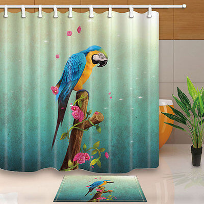 """Colorful parrots Shower Curtain Bedroom Decor Waterproof Fabric /& 12Hooks 71*71/"""""""
