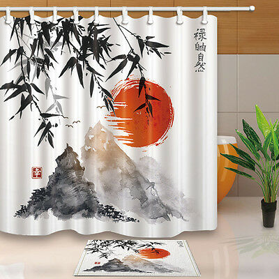 National Style Shower Curtain set Japanese Ink Painting Ocean Bathroom Curtain