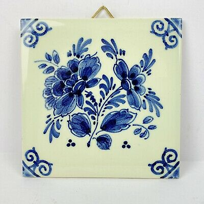 """DP Delft Tile Floral Blue White Painted Ceramic Wall Hanging Flower 4"""" Square"""