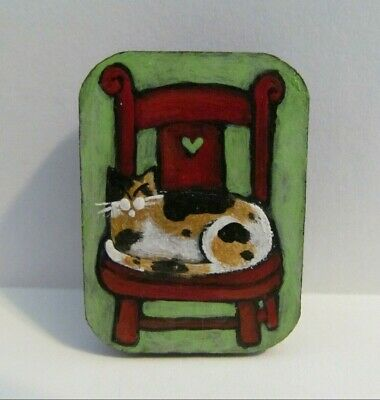 Cat Original Painting Wood Magnet Calico Asleep Red Chair Handpaint Folk M King