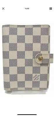 Authentic Louis Vuitton Diary Cover Agenda PM Whites Damier Azur 119036