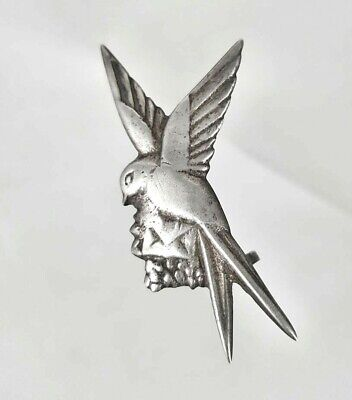 Vintage Antique Sterling Old Silver Mexico Swallow Bird w/ Letter Brooch Pin