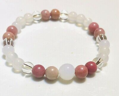 Moonstone , Clear Quartz and Pink Tourmaline Healing. Crystal Bracelet