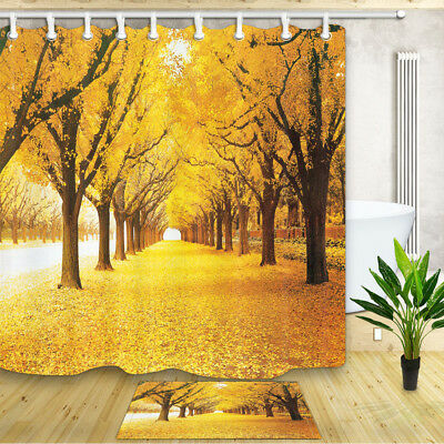 Autumn deciduous forest Shower Curtain Bathroom Decor Fabric /& 12hooks 71x71in