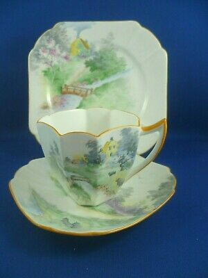 SHELLEY RARE Queen Anne SHEEP & COTTAGE Cup saucer & plate RD723404 Pat 11723/6