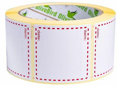500 x Removable Freezer Labels On Roll, Size 50x50mm, White and Red Date Label