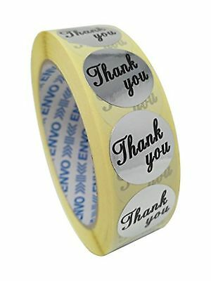 1000 Silver Thank You Stickers Round Labels Size 25mm (Silver)