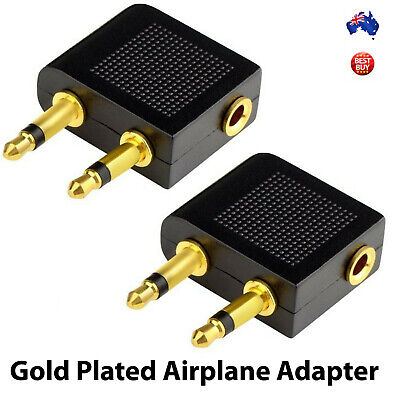 2x Airplane Airline Headphone Adapter for Audio Jack Connector NEW AU