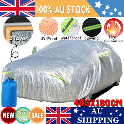 3-Layer Thicken Waterproof Car Cover Snow Fire Resistant UV Proof Aluminum 3XL
