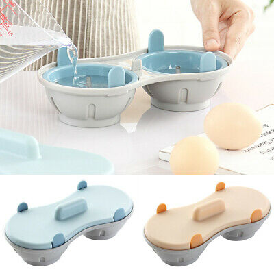 Double Egg Poacher Cup Cooker Steamer BPA Free Microwave Egg Mould Pod Cookware