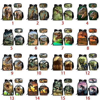 3pcs Dinosaur Backpack Boys Girls School Lunch Pencil Bag Laptop Rucksack Gift