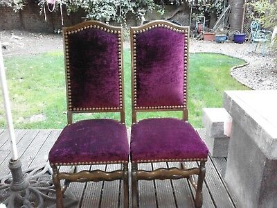 VINTAGE FRENCH~COACH HOUSE STYLE~CRUSHED VELVET~GOTHIC CARVED DINING CHAIRS x 6