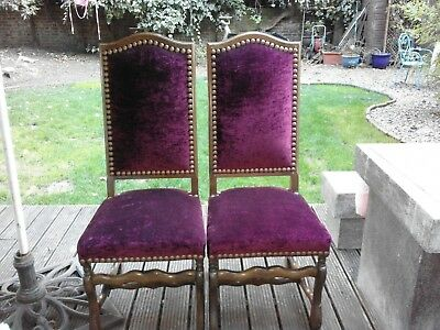 VINTAGE FRENCH~LUXURY~CRUSHED VELVET~GOTHIC CARVED TALL DINING CHAIRS x 6 RARE