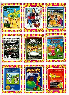 """2014 Wacky Packages Series 1 """"TERRIBLE TV"""" Complete Sticker Set"""