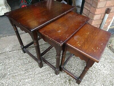 Vintage Priory Old Charm Solid Dark Oak Nest Of 3 Tables
