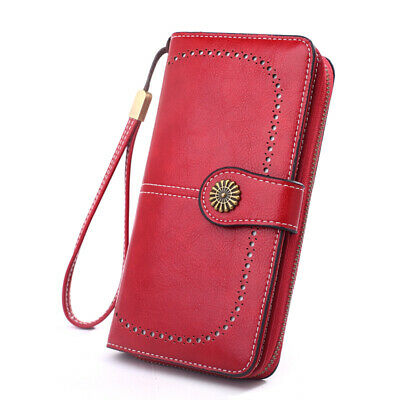 Women's Compact Bifold Long Wallet Clutch Purse ID Credit Card Holder PU Leather