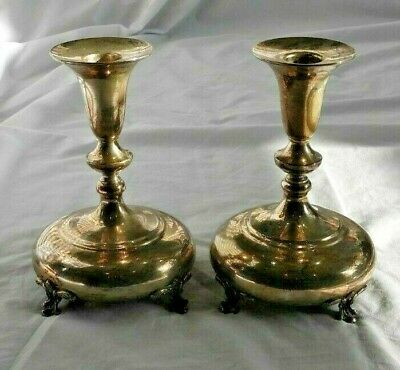 Pair of Antique Durham Sterling Silver Bubble Footed Candlesticks 638