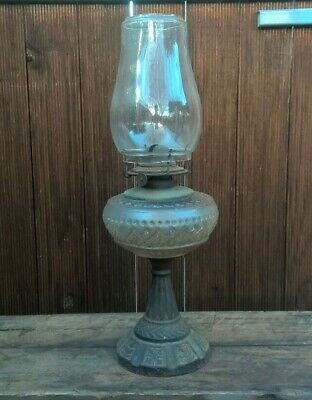 Antique Vintage Oil Lamp - Glass & Cast Iron Table Light