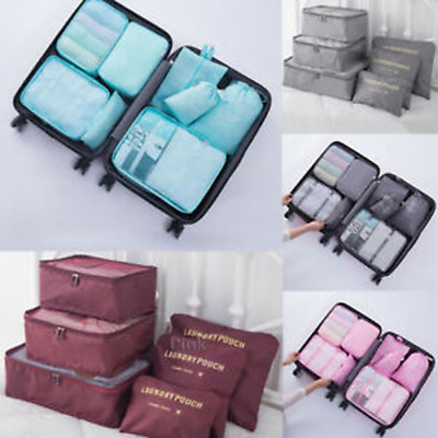 8Pcs Packing Cubes Travel Pouch Luggage Organiser Clothes Suitcase Storage Bag