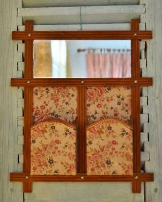 Sweet Antique French Textile Hanging Boudoir / Vanity Tidy With Mirror C 1920