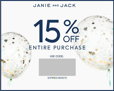 Janie and Jack 15% off code coupon (not 20% off!!!) Exp 08/09/2019