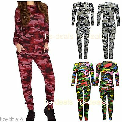New Kids Girls Army Camouflage Print 2 Piece Womens Tracksuit Jogging Ladies