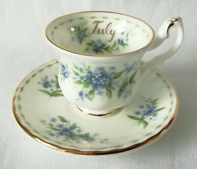 Royal Albert Flower of The Month July Forget Me Not Miniature Tea Cup and Saucer