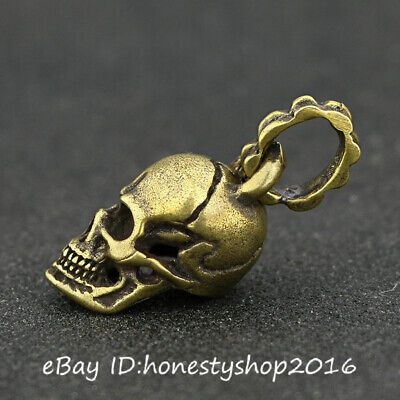 Chinese Bronze Copper Hand Carved Hollow Out Skull Head Amulet Pendant Necklace