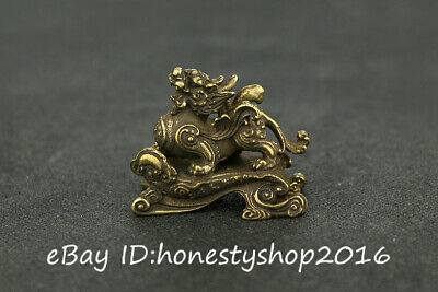 Chinese Bronze Copper Carved Unicorn Pixiu Beast Dragon Incense Burner Censer