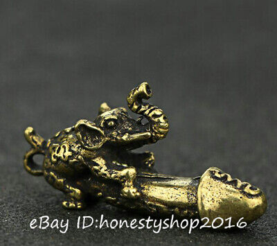 Chinese Bronze Copper Hand Carved Elephant Auspicious Worship Animal Statue