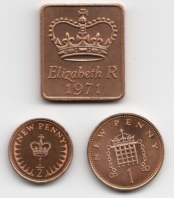 1971 Shield 1p & 1/2 Penny Proof Unc Mint Condition Extremely Nice Coins (1164)