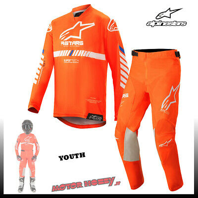 Completo Youth Bambino Alpinestars Racer Tech 2020 Orange Fluo White Blue  M-24