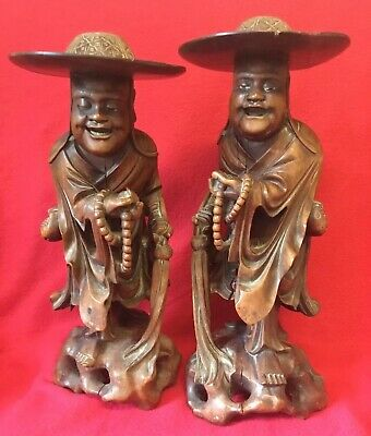 Old Pair Of Large Antique Vintage Chinese Carved Wooden Men Treen Figures 16In