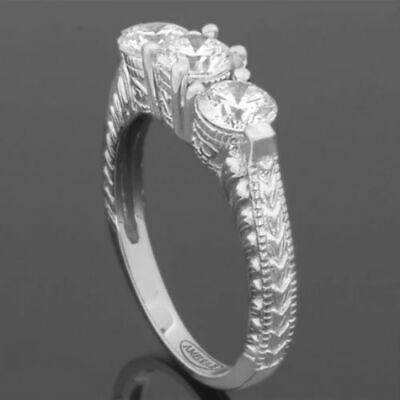 Ornate Diamond Ring Round Brilliant Flawless 18 Kt White Gold Vs1 1.18 Ct Ladies