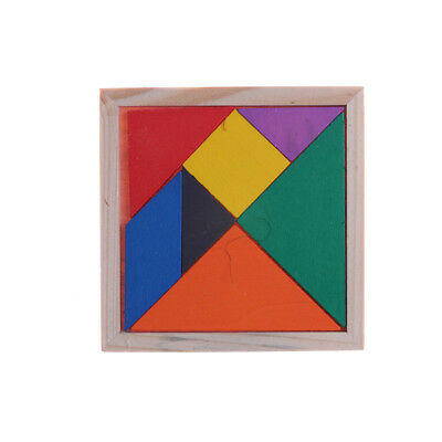 Wooden Tangram Brain Teaser Puzzle Educational Developmental Kids Toy PiFHFA