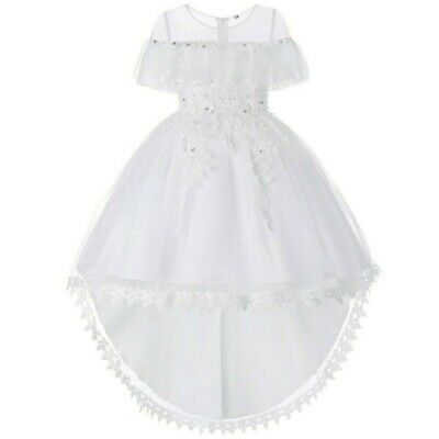 Girls Dress Trailing Princess Skirts Appliques Bowknot Chic Party Ball Gown Cute