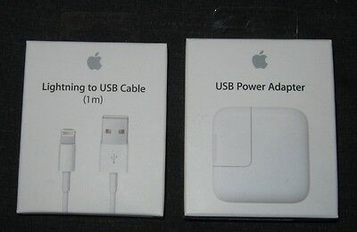 Genuine NEW Apple iPad iPhone 8 / 7 / 6 / 5 - 12W USB Charger Lightning Cable