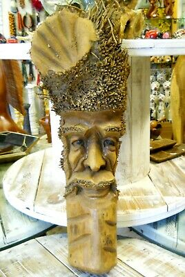 Carved Wooden Bamboo Root Old Man Face Mask NEW STYLE 60 cm Indoor / Outdoor