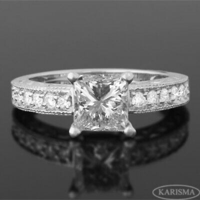 Princess Diamond Ring 18 Kt White Gold 1.4 Carats Ornate Colorless Vs D Womens