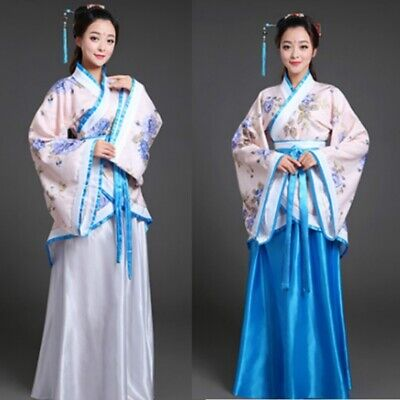 Chinese Tang Han Fu Suit Lady Long Sleeve Folk Dance Dress Costume Ancient Sets