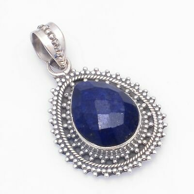 Faceted-Lapis Lazuli Solid 925 Sterling Silver Pendant Jewelry ASP-7989