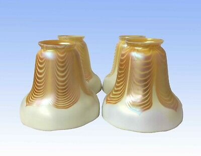 """Four Steuben """"Pulled Feather"""" Lamp Shades, Gold Aurene Calcite Glass"""