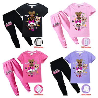 New Lol Surprise Doll Kids Girls100% Cotton Short Sleeve Top +Long Pants Outfits