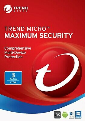 Trend Micro Maximum Security 3 PC 1 One Year 2019 Latest Version