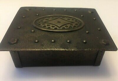 Antique Austria Arts & Crafts Hand Hammered Steel Dresser Desk Box