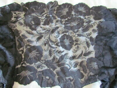 Antique Victorian Floral lace Oblong Mantilla Wrap Shawl  Black Mourning Scarf